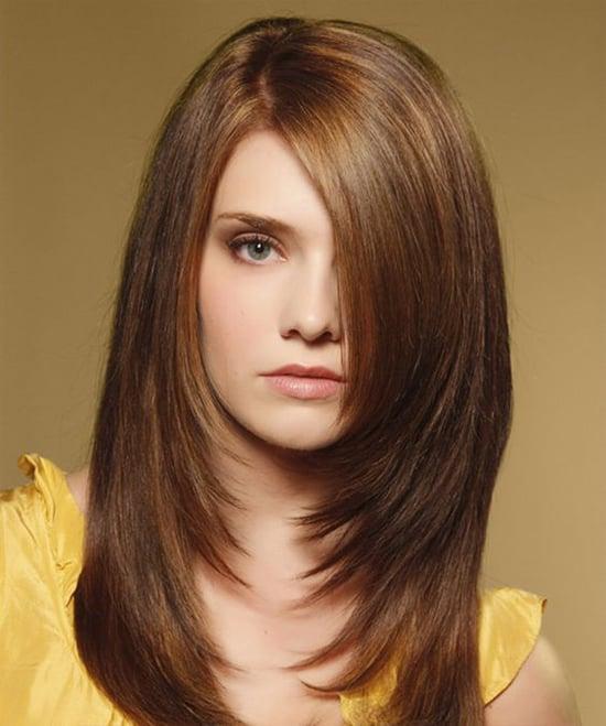 Каскад на средних волосах