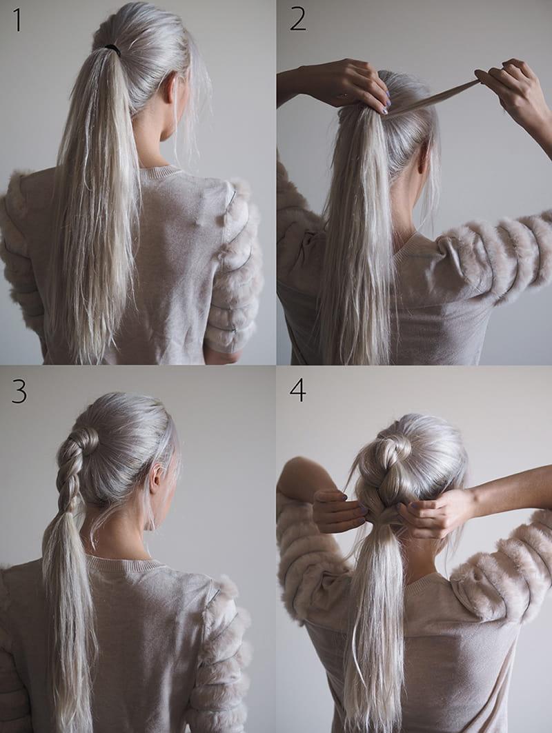 Прическа на длинные густые волосы своими руками 45