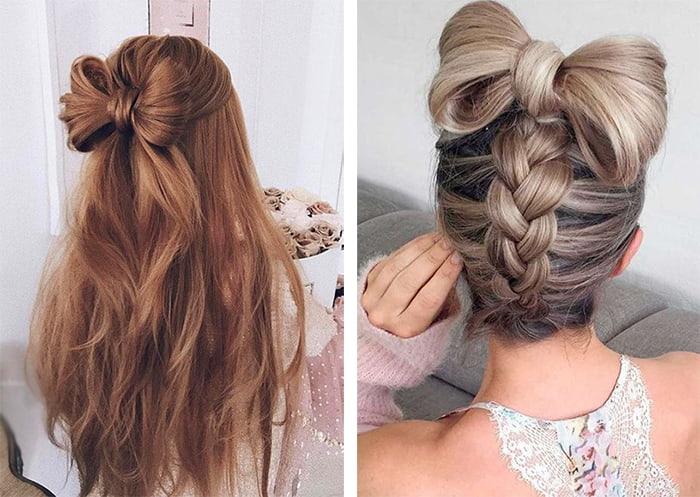 как сделать из волос бантик картинки