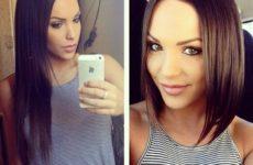 Длинное каре без челки: волосы до и после стрижки фото