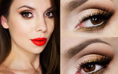 Яркий макияж для карих глаз: фото урок