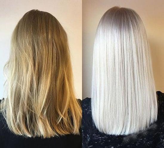платиновый блонд до и после