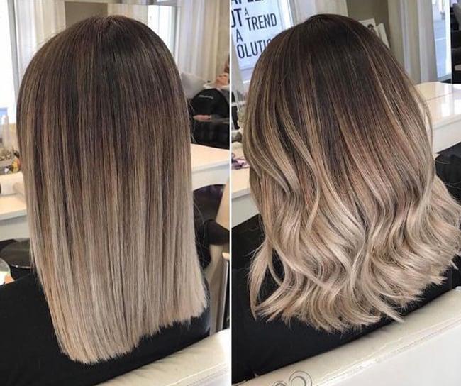 Балаяж на пепельно русые волосы