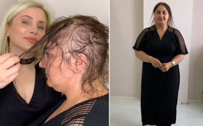 Парикмахер круто изменила женщину сделав шикарную прическу из ее редких волос